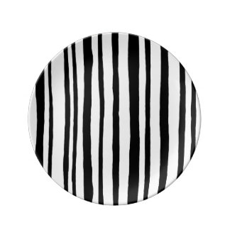 Into the Woods Stripes black Porcelain Plate small