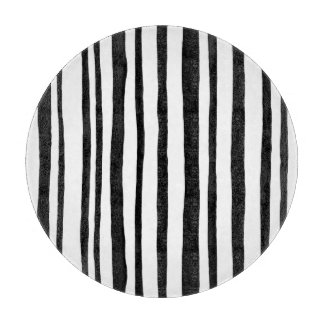 Into the Woods Stripes black round Cutting Board