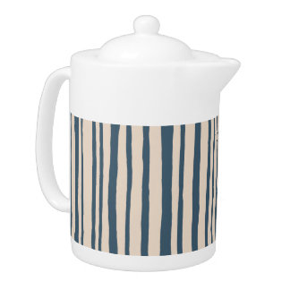 Into the Woods Stripes blue Teapot