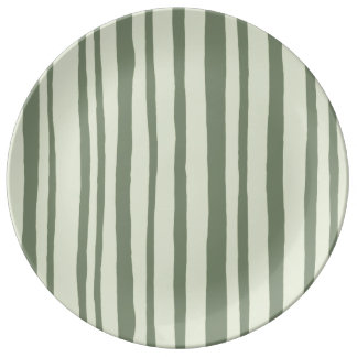 Into the Woods Stripes green Porcelain Plate