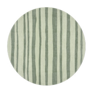 Into the Woods Stripes green round Cutting Board
