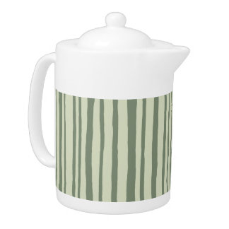 Into the Woods Stripes green Teapot