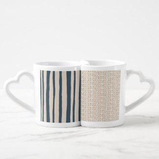Into the Woods Stripes Leaves blue Lovers Mug Set