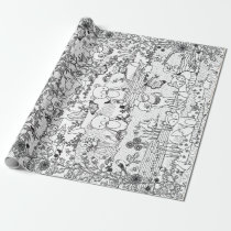 Into the Woods Woodland Animal Ready to Color Wrapping Paper