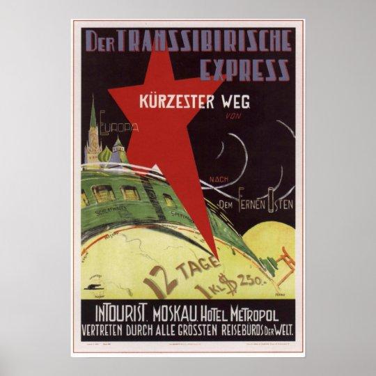 """Intourist. Transsiberian express"" USSR 1930 Poster"