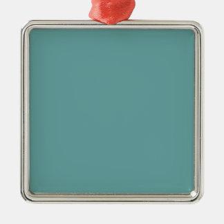 Intrépido azulverde de la turquesa adorno navideño cuadrado de metal