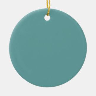 Intrépido azulverde de la turquesa adorno navideño redondo de cerámica