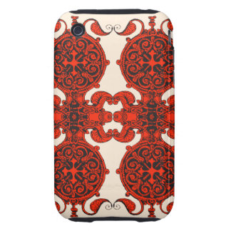 Intricate art nouveau black and red unisex design iPhone 3 tough cases