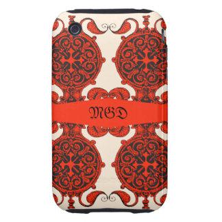 Intricate art nouveau monogram unisex design iPhone 3 tough cases