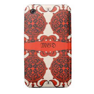 Intricate art nouveau unisex design monogram iPhone 3 case