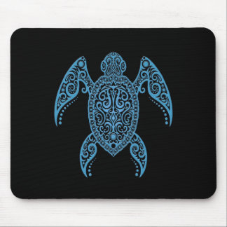 Intricate Black and Blue Sea Turtle Mouse Pad