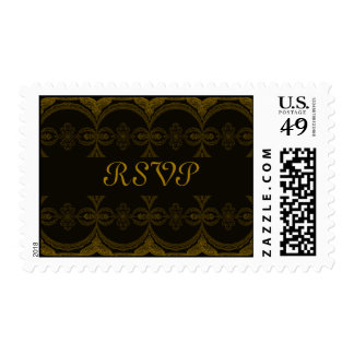 Intricate Black and Brown Pattern - RSVP Postage