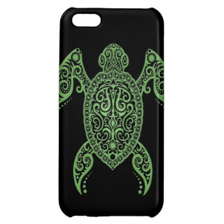 Intricate Black and Green Sea Turtle Cover For iPhone 5C