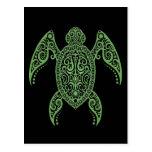 Intricate Black and Green Sea Turtle Postcard