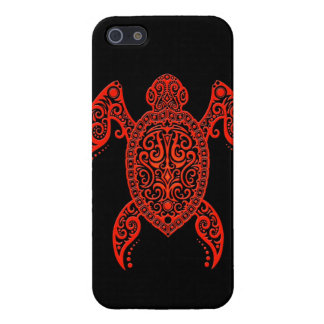 Intricate Black and Red Sea Turtle Case For iPhone SE/5/5s