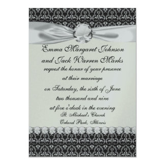 intricate  black and white damask card