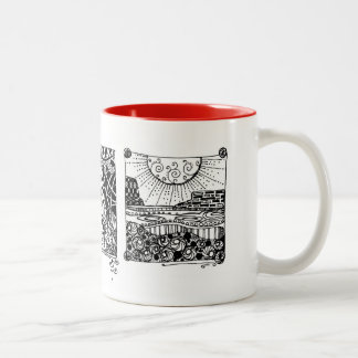 Intricate black and white doodles on a cheery mug!