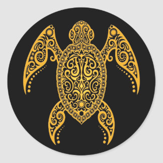 Intricate Black and Yellow Sea Turtle Stickers