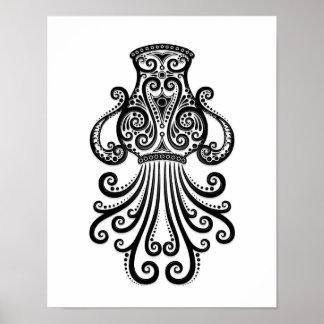 Intricate Black Aquarius Zodiac on White Poster