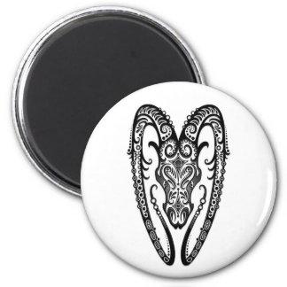Intricate Black Aries Zodiac on White 2 Inch Round Magnet