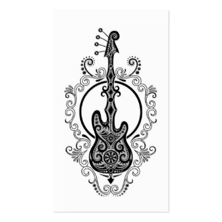 Intricate Black Bass Guitar Design on White Double-Sided Standard Business Cards (Pack Of 100)