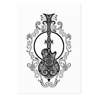 Intricate Black Guitar Design on White Business Card Templates