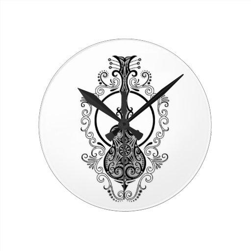 Intricate Black Guitar Design on White Round Wallclocks