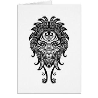 Intricate Black Leo Zodiac on White Greeting Card