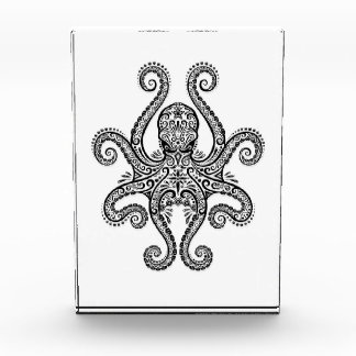 Intricate Black Octopus on White Acrylic Award