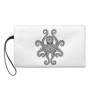 Intricate Black Octopus on White Wristlet Clutch