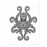 Intricate Black Octopus on White Postcard