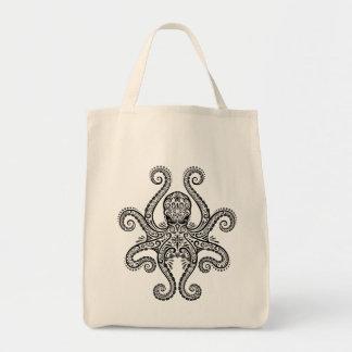 Intricate Black Octopus Tote Bag