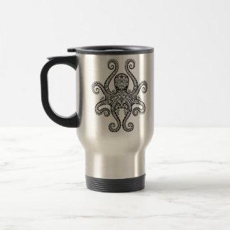 Intricate Black Octopus Travel Mug