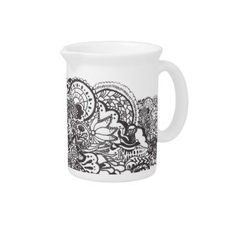 Intricate black pen and ink art beverage pitchers