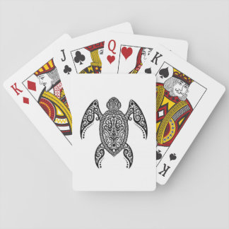 Intricate Black Sea Turtle on White Playing Cards