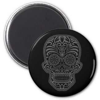 Intricate Black Sugar Skull 2 Inch Round Magnet