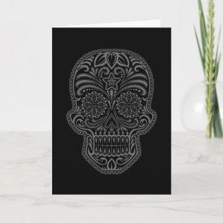 Intricate Black Sugar Skull zazzle_card