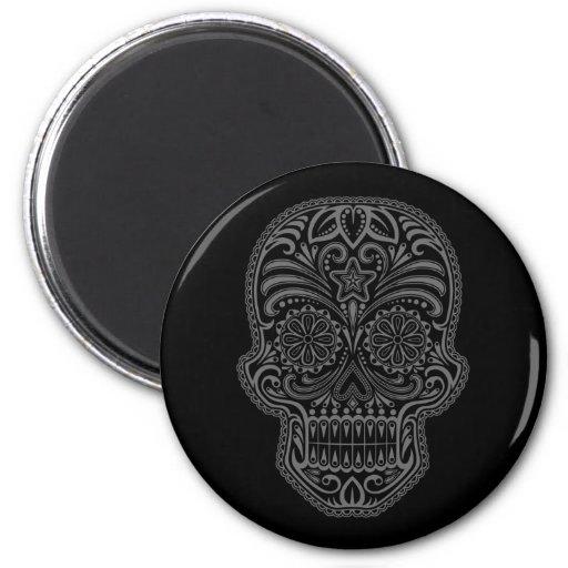 Intricate Black Sugar Skull Fridge Magnets