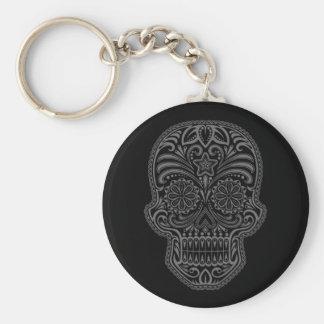 Intricate Black Sugar Skull Keychain