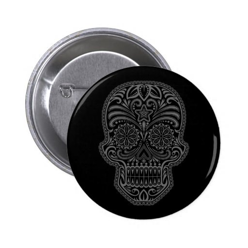 Intricate Black Sugar Skull Pin