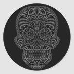 Intricate Black Sugar Skull Sticker