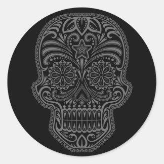 Intricate Black Sugar Skull Round Sticker