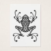 Intricate Black Tree Frog on White