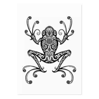 Intricate Black Tree Frog on White Large Business Card