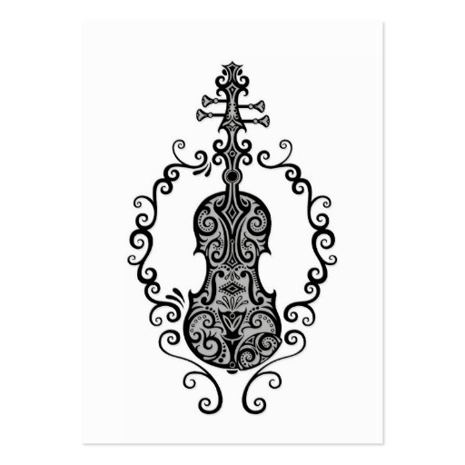 Intricate Black Violin Design on White Business Card Templates