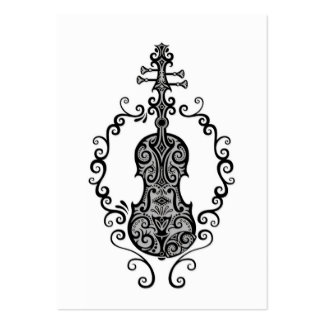 Intricate Black Violin Design on White Large Business Card