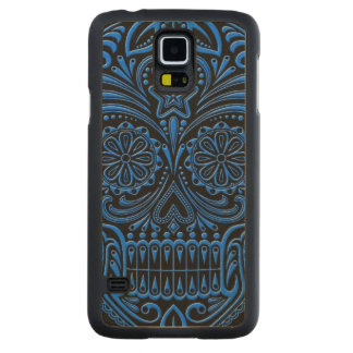 Intricate Blue and Black Sugar Skull Carved Maple Galaxy S5 Slim Case