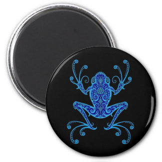 Intricate Blue and Black Tree Frog Magnet