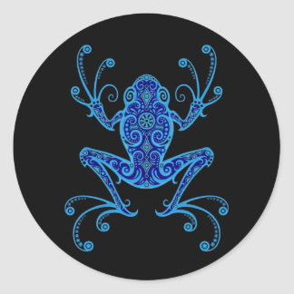 Intricate Blue and Black Tree Frog Round Sticker
