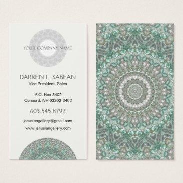 Professional Business Intricate Blue and Grey Mandala Kaleidoscope Business Card